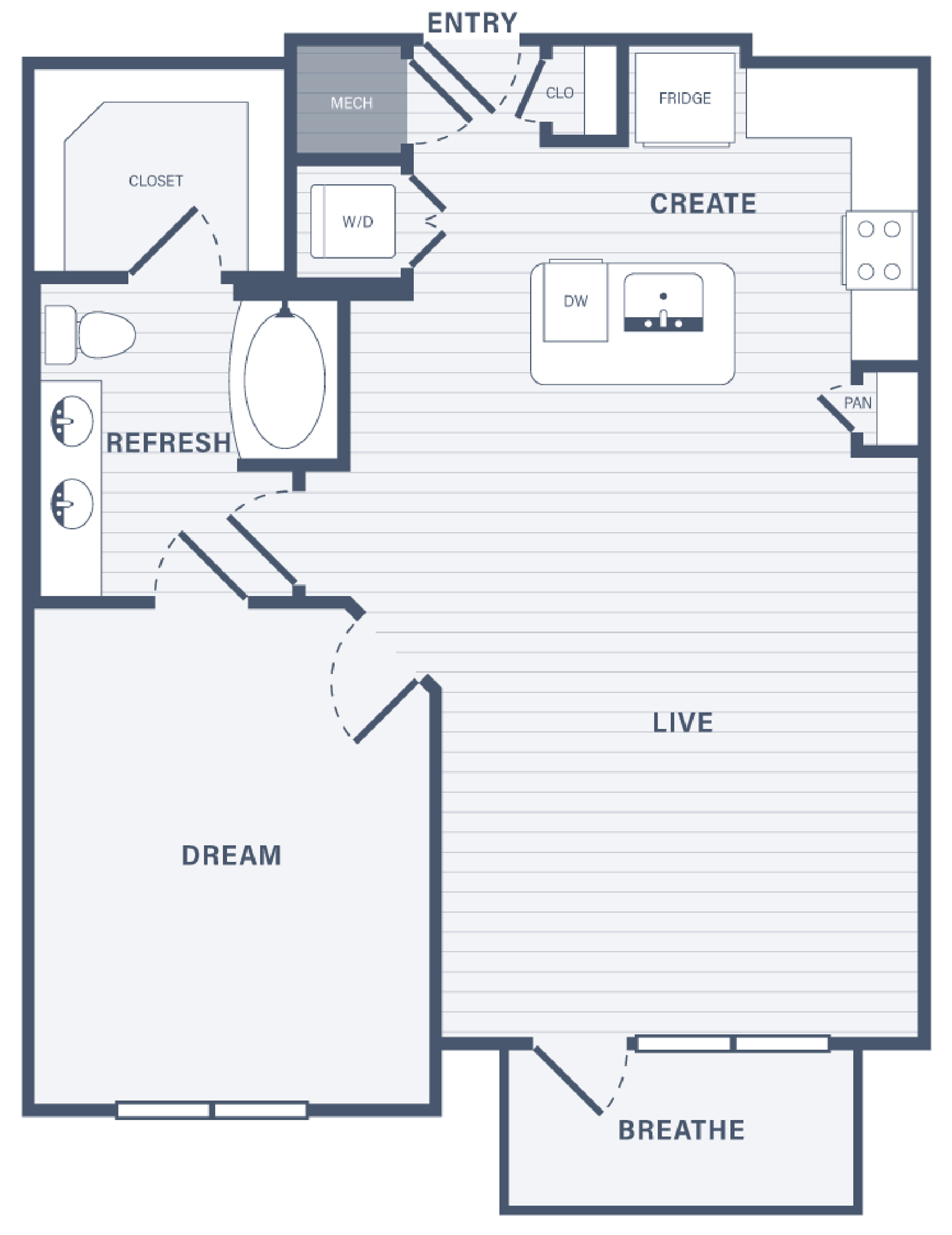 One Bedroom floor plan at 255 Assay Luxury Apartment Community