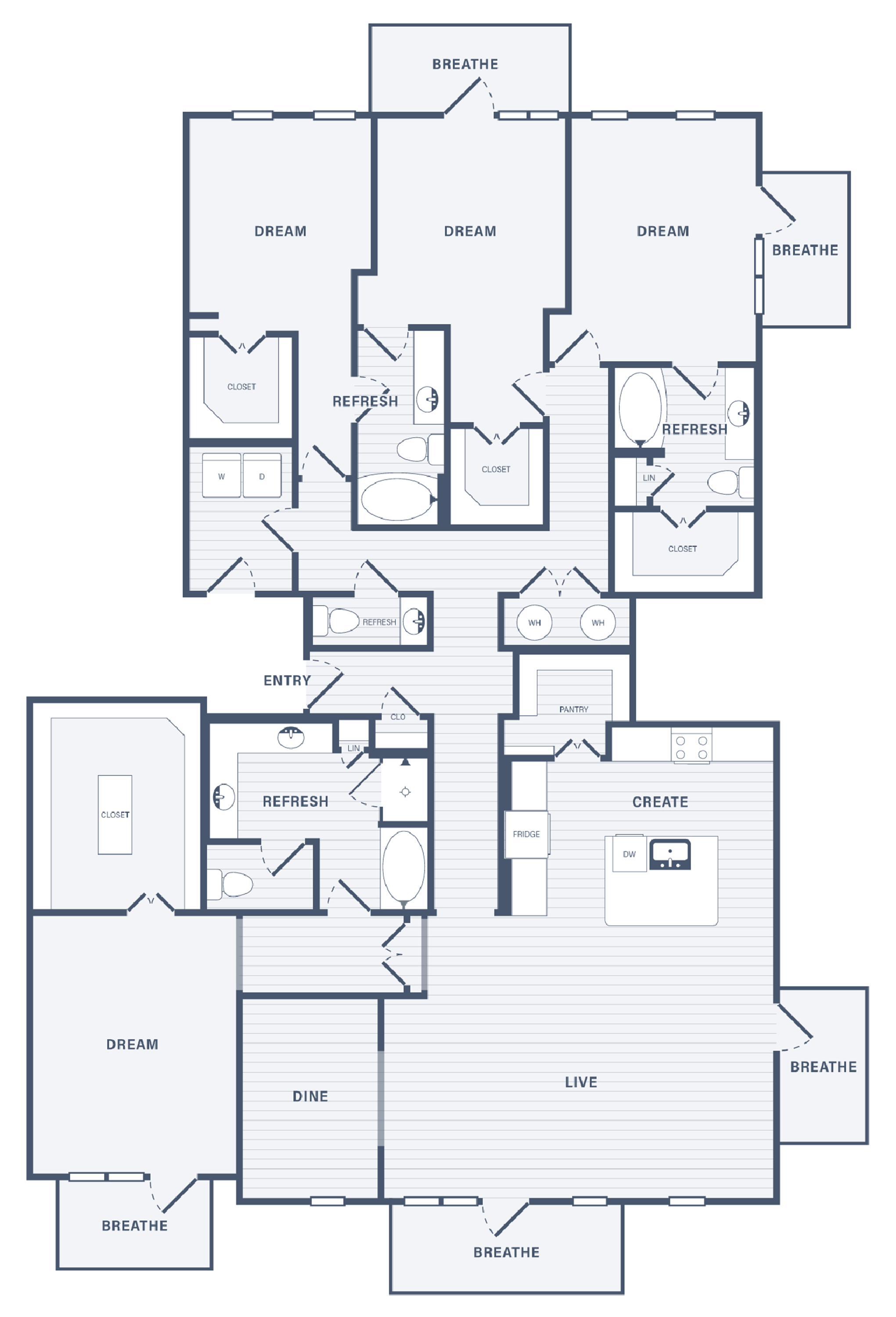 Three Bedroom Penthouse floor plan at 255 Assay Luxury Apartment Community