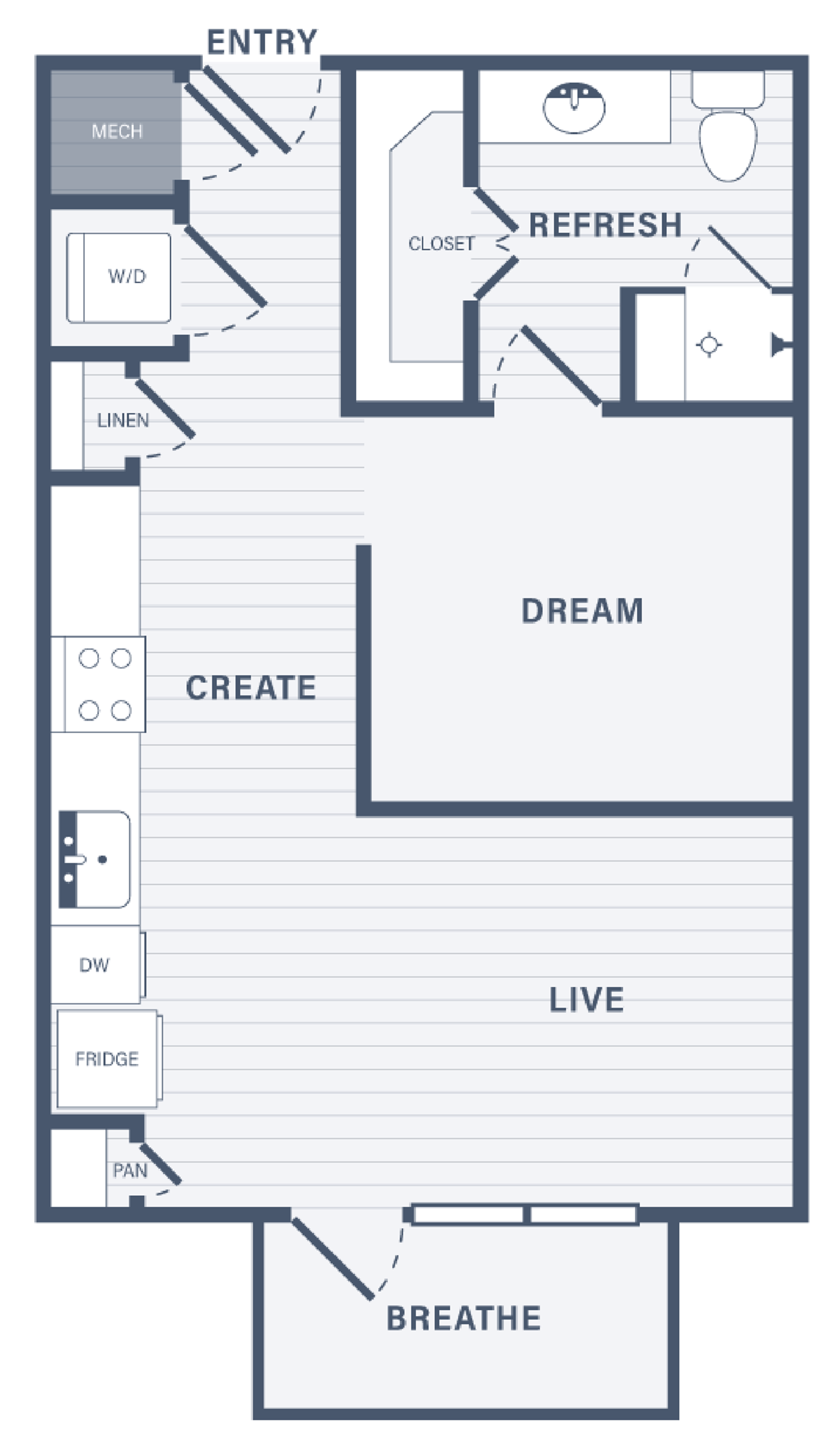 Studio One Bedroom floor plan at 255 Assay Luxury Apartment Community