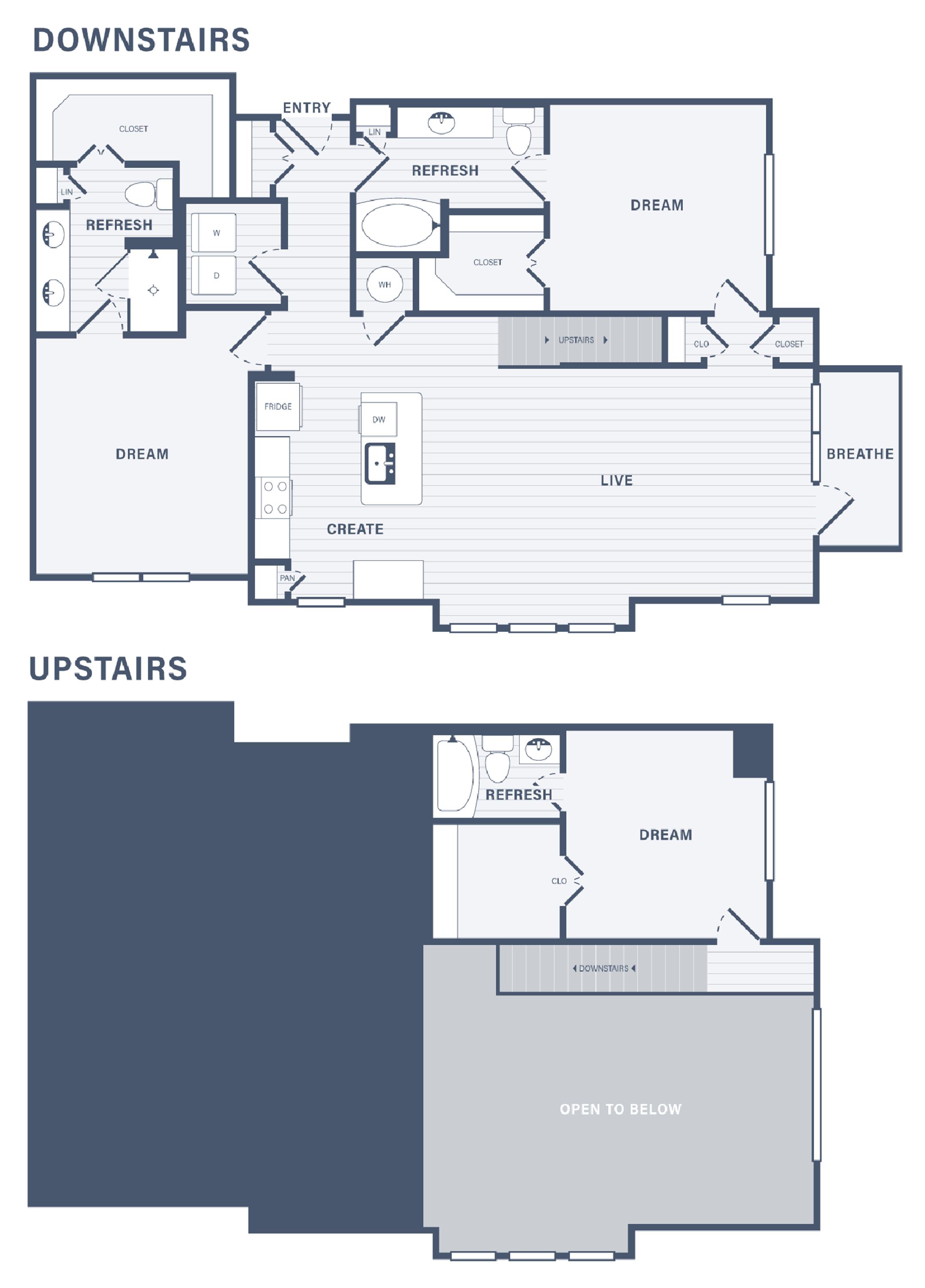 Three Bedroom floor plan at 255 Assay Luxury Apartment Community