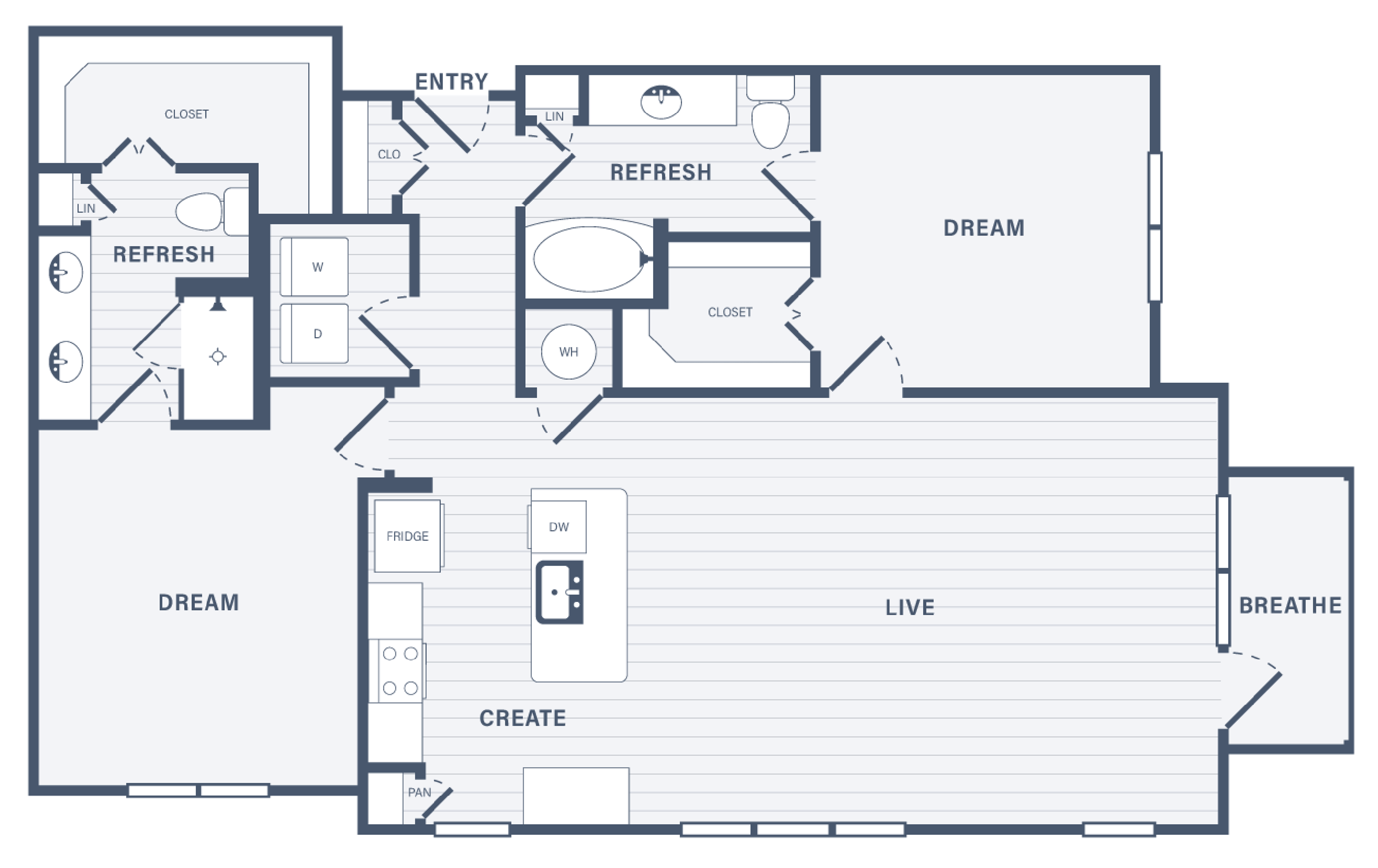 Two Bedroom floor plan at 255 Assay Luxury Apartment Community