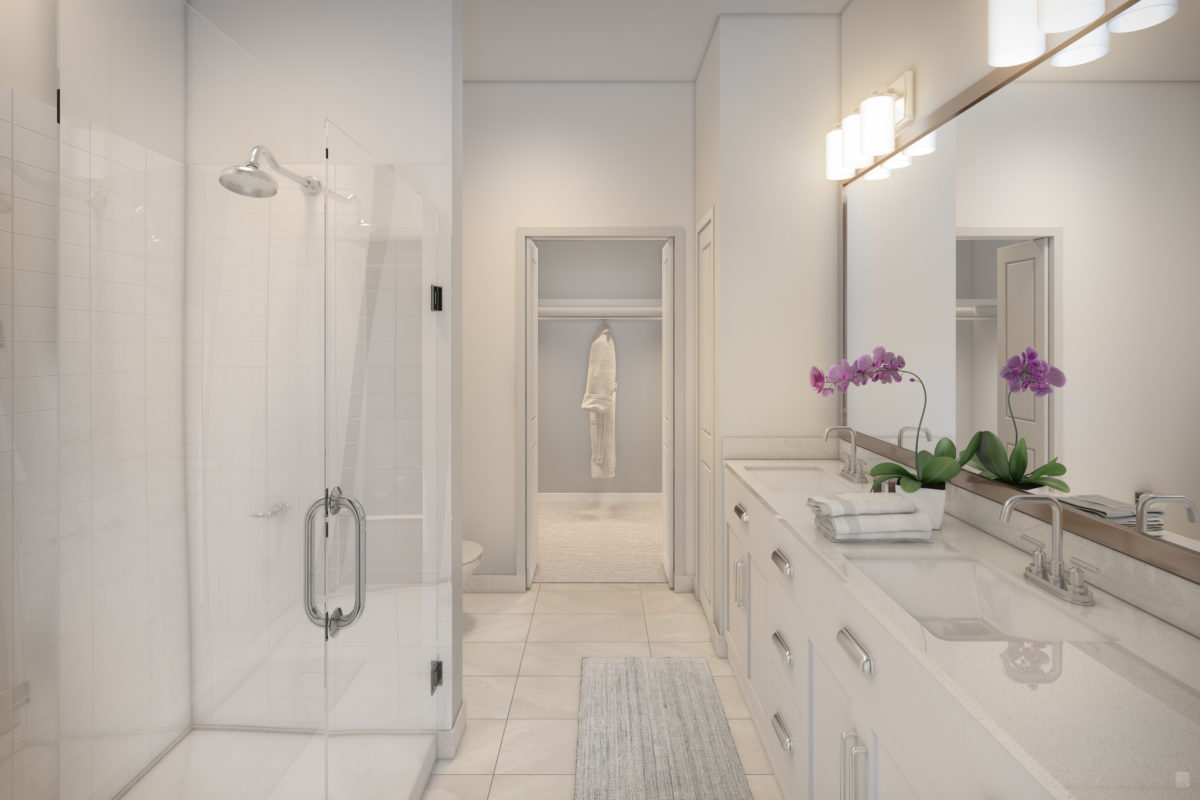 Luxurious bathroom wtih walk in shower at 255 Assay Luxury Apartment Community