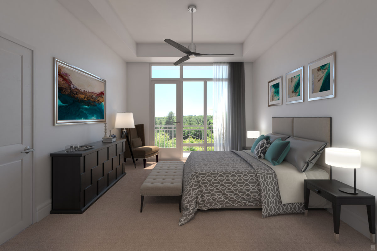 Spacious bedroom with amazing views at 255 Assay Luxury Apartment Community
