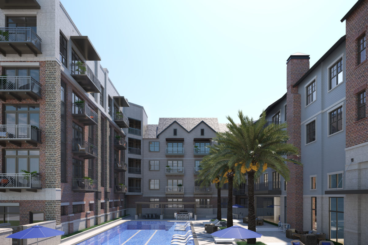 Large lap pool rendering at 255 Assay Luxury Apartment Community