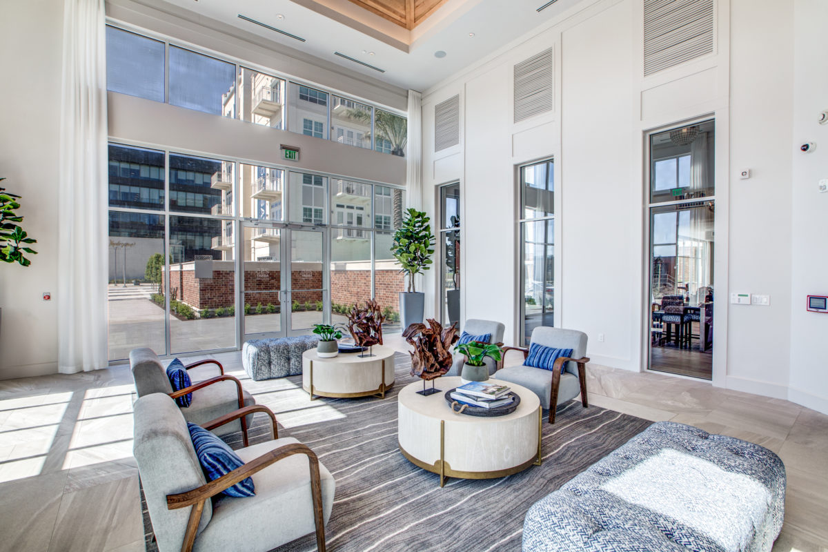 lobby in luxury houston texas apartment