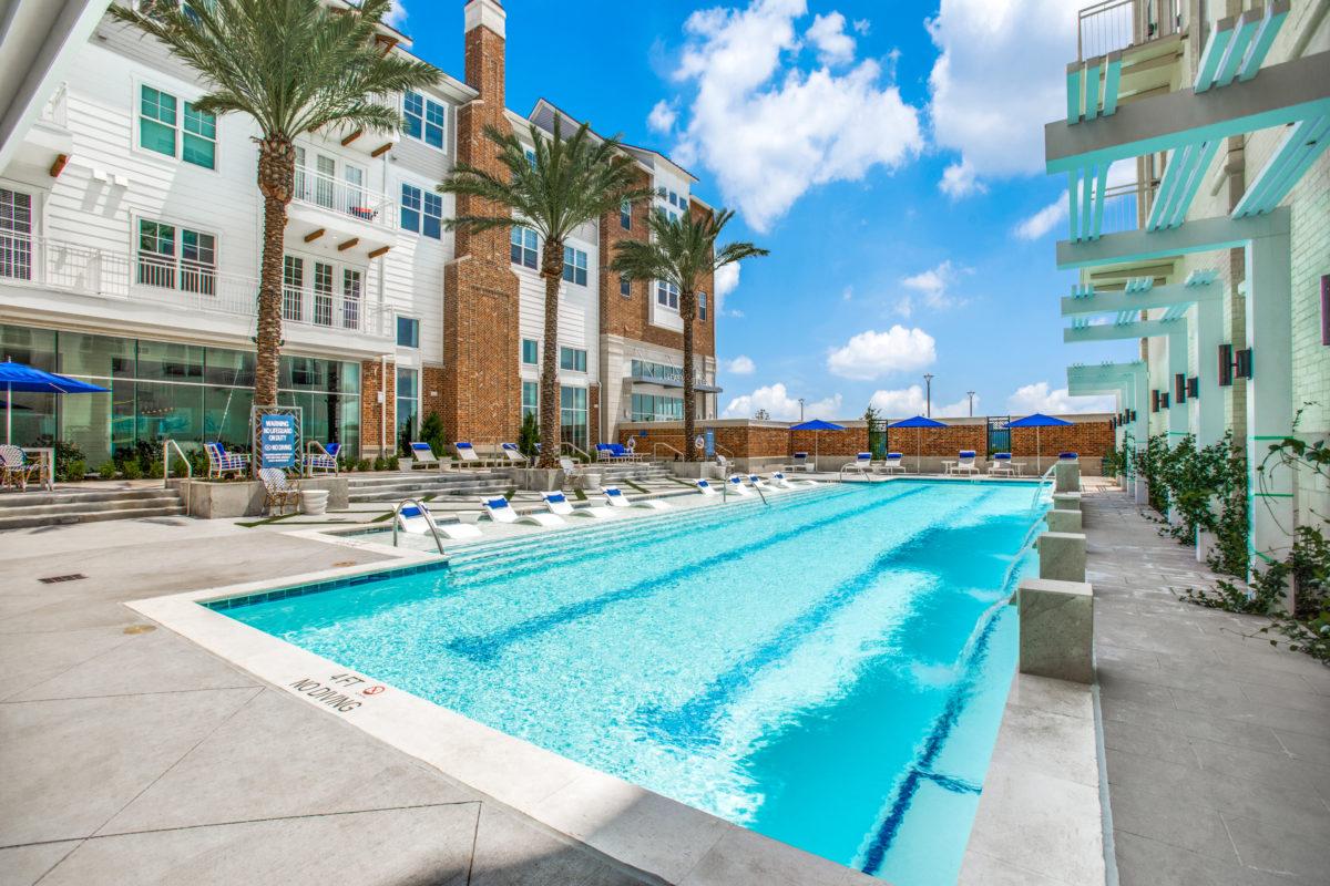 sparkling swimming pool in luxury houston tx apartment